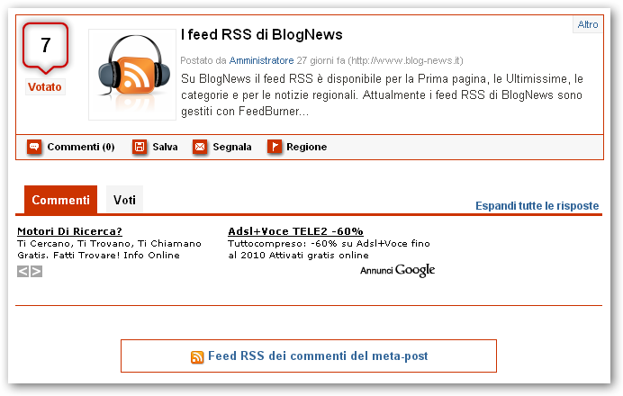 Fig.2 Feed RSS dei commenti